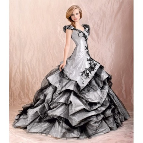 Silver and Black Wedding Dress-500x500